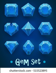 Set of realistic blue gems of various shapes. Sapphire collection. Elements for mobile games or decoration. Vector illustration