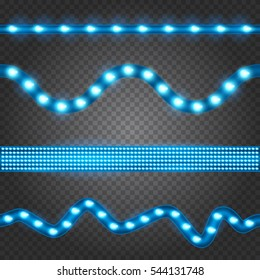 Set of realistic blue led glowing light stripes on transparent background. Horizontal seamless objects.