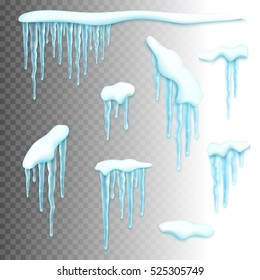 Set of realistic borders with snow and icicles. Elements for christmas design over transparent background, vector illustration
