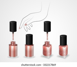 Set of realistic bottles of nail polish in the background a woman's hand. Round and square bottle with nail polish. Nail polish with shining spangles. Vector illustration