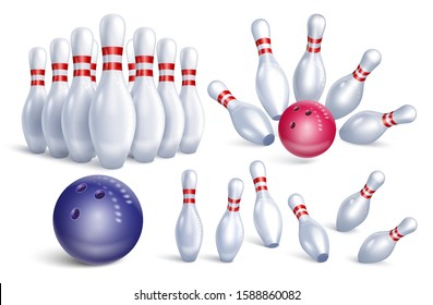 Set of realistic bowling icons. Skittles, balls, dynamic composition. Falling pins. Isolated on a white background. Vector stock illustration.