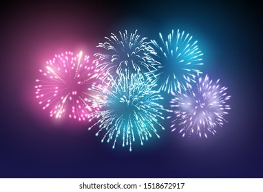 A set of realistic bright fireworks lighting up the night sky. Vector illustration
