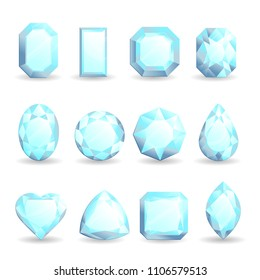 Set of realistic bright gemstones. Diamond of different forms isolated on white background.
