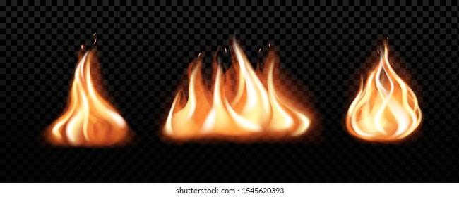 Set of realistic burning fire flames, vector effect for design. Transparent  black background.