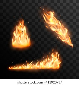 Set of realistic burning fire flames vector effect for design. Trail of fire vector effect.