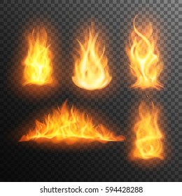 Set of realistic burning fire flames, vector effect for design. Transparent background.