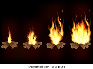 Set of realistic burning fire flames.A fire from a small flame to a large one. Vector illustration.