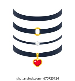 Set of realistic choker necklaces, vector illustration. Fashion jewelry with pearl and gold heart pendant.