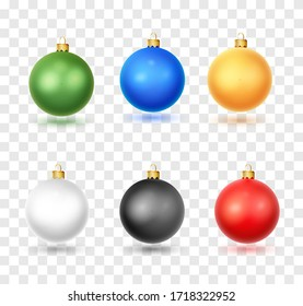 Set of realistic Christmas ball. Christmas baubles isolated on white backgroundon white background. Christmas decorations