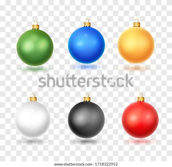 Set of realistic Christmas ball. Christmas baubles isolated on white backgroundon white background. Christmas decorations