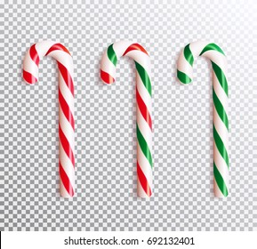 Set of realistic christmas candy cane. Vector illustration icon isolated.