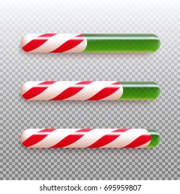 Set of realistic christmas candy cane progress bar. Vector illustration icon isolated.