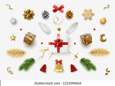 Set realistic Christmas objects isolated on white background. Elements gift box, lush bows, pine branches, pine cone, decorative snowflake, xmas ball and confetti, bells, and old watch