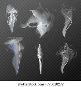 Set of realistic cigarette smoke waves vector illustration