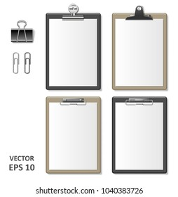 Set of Realistic clipboards with blank white paper sheet. Notepad information board Template for corporate identity. Black and brown wooden Clipboard. vector illustration