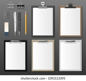 Set of Realistic clipboards with blank white paper sheet. Notepad information board Template for corporate identity. Black, white and wooden Clipboard. vector illustration