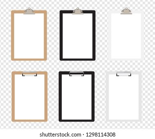 Set of realistic clipboards. Vector illustration