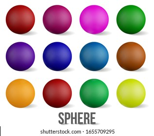 Set of Realistic Collection colorful glossy spheres isolated on transparent background .