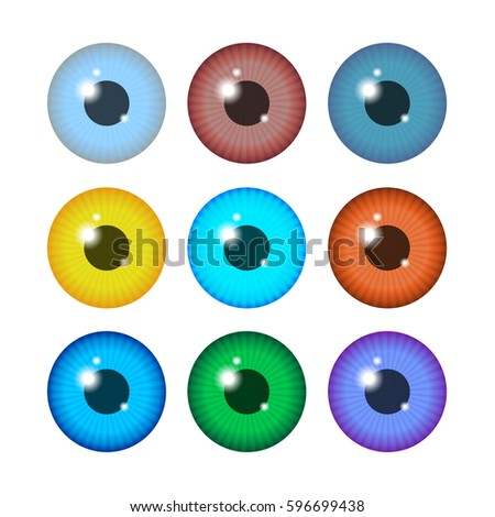 set realistic colored eyeballs isolated on stock vector royalty