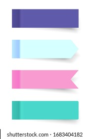 Set of realistic colored horizontal paper stickers with a peel off corner isolated on white. Empty mockup for a memo and notice. Transparent shadows. Vector illustration for your design