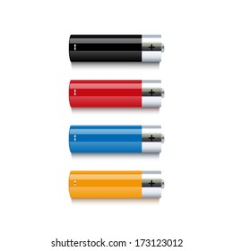 Set of realistic colorful batteries isolated on white background. Vector illustration