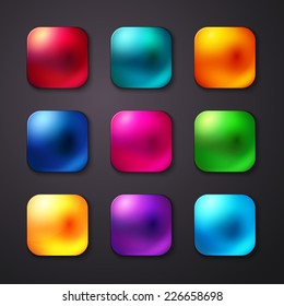 Set of realistic and colorful mobile app buttons. Vector illustration.