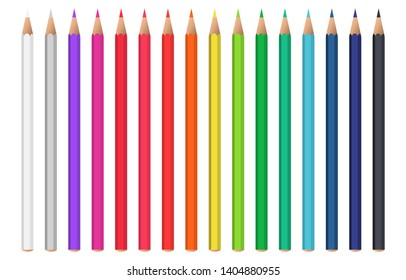Set of realistic colorful pencil. Color pencils isolated on white background. Back to school items. Template design for presentation, publications, education.