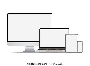 Set of realistic computer laptop tablet and smartphone. Electronic gadgets, isolated, on white background