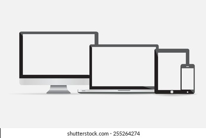 Set of realistic computer monitor, laptop, tablet and mobile phone with empty white screen. Various modern electronic gadget isolated on white background. Vector illustration EPS10