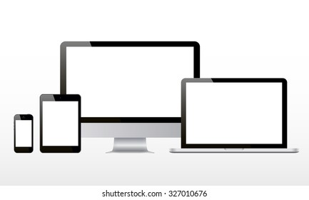 Set of realistic computer monitor, computer, laptop, phone, tablet isolated on white background. Vector illustration.
