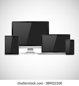 Set of realistic  computer monitor, laptop, tablet and mobile phone with empty screen. Various modern electronic gadget isolated on white background. Vector illustration EPS10