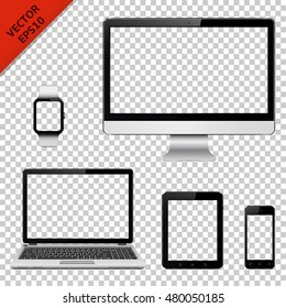 Set of realistic computer monitor, laptop, tablet pc, mobile phone and smart watch with transparent screen. Electronic gadgets isolated on transparent background.