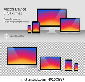 Set of Realistic Computer Monitor, Laptop, Tablets and Smartphone with Colorful Screen Isolated. Can Use for Template Presentation or Banner. Electronic Gadgets, Device Mock Up. Vector Illustration.