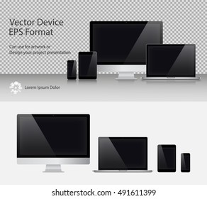 Set of Realistic Computer Monitor, Laptop, Tablets and Smartphone with Black Screen Isolated. Can Use for Template Presentation or Banner. Electronic Gadgets, Device Mock Up. Vector Illustration.