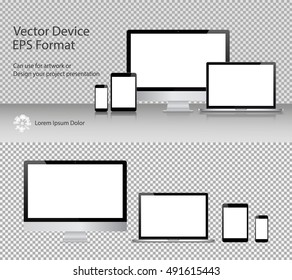 Set of Realistic Computer Monitor, Laptop, Tablets and Smartphone with Blank Screen Isolated. Can Use for Template Presentation or Banner. Electronic Gadgets, Device Mock Up. Vector Illustration.