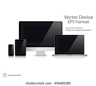 Set of Realistic Computer Monitor, Laptop, Tablet and Mobile Phone with Blank Screen Isolated On White Background. Can Use for Template Presentation. Electronic Gadget, Device Mockup. Vector Device.