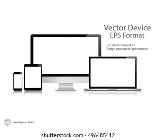 Set of Realistic Computer Monitor, Laptop, Tablet and Mobile Phone with Blank Screen Isolated On White Background. Can Use for Template Presentation. Electronic Gadget, Device Mockup. Vector Device