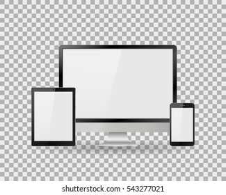Set of realistic computer monitor, laptop, tablet and mobile phone with empty white screen. Various modern electronic gadget on isolate background. Vector illustration EPS10