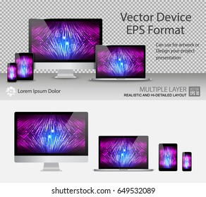 Set of Realistic Computer Monitor, Laptop, Tablets and Smartphone with Power On Screen Isolated. For Template Presentation or Banner. Device MockUp. Separate Groups and Layers. Easily Editable Vector