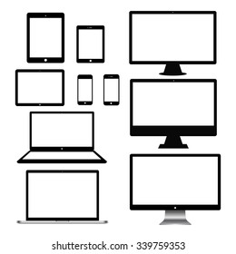 Set of realistic computer monitors, laptops, tablets and mobile phones. Electronic gadgets isolated on white background.