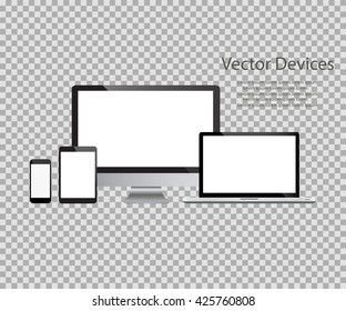 Set of realistic computer monitors, laptops, tablets and mobile phones. Electronic gadgets, isolated, on isolated background