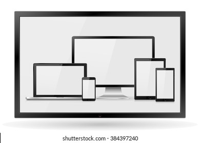 Set of realistic computer monitor,TV, lcd, led, laptop, tablet and mobile phone with empty white screen. Various modern electronic gadget isolated on white background. Vector illustration  EPS10