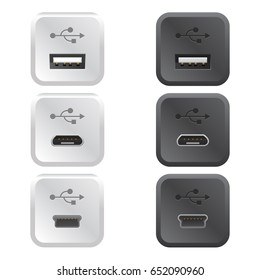 Set of realistic connection ports Vector illustration black and white