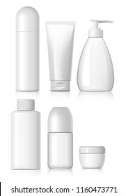 Set of Realistic cosmetic bottle with black lid on a white background. Package collection for cream, shampoo, glue. Mock up set for brand template. vector illustration.