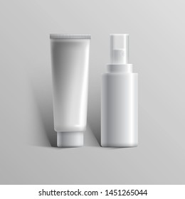 Set of realistic cosmetic bottle can sprayer container. Dispenser for foaming, cream and other cosmetics, isolated on white background. Vector illustration. EPS 10