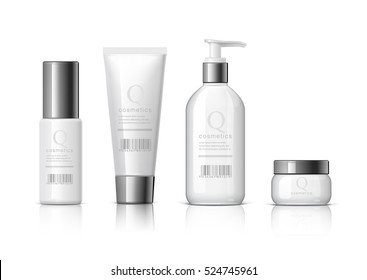 Set of Realistic cosmetic bottle on a white background. Cosmetic package collection for cream, soups, foams, shampoo, glue. Mock up set for brand template. vector illustration.