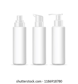 Set of realistic cosmetic containers isolated on white background. Vector mockup for brand template.