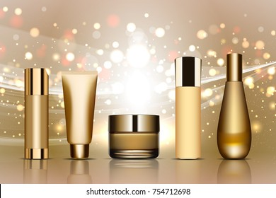 Set of realistic cosmetic gold tubes on sparkling backround. Vector illustration. Containers for cream, foams and other cosmetics bottle mockup on dazzling background. Lights and bokeh elements. 3D