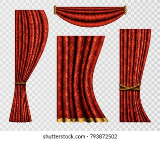 Set of realistic curtains with a pattern in Baroque style. Curtain forms on a transparent background. Flower templates of red elements for design. Vector illustration.