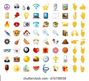 Set of Realistic Cute Elegant Multimedia and Interface Icons on White Background . Isolated Vector Illustration